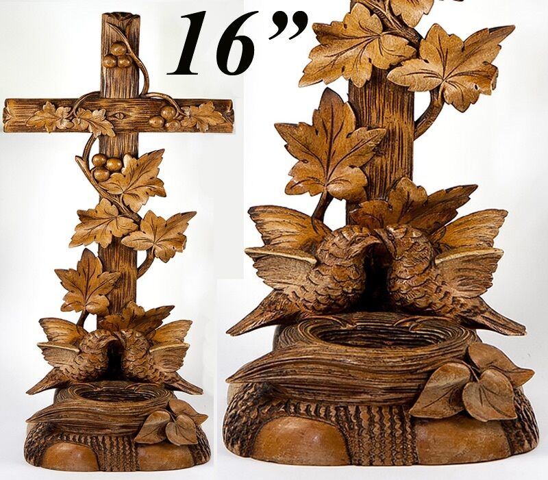 "Antique Hand Carved Black Forest Holy Font with Birds & Nest, HUGE 15.75"" Tall"