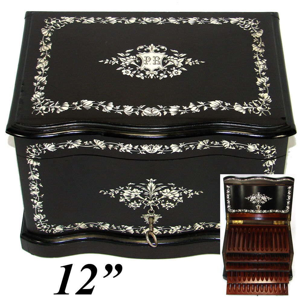"Rare Antique French 12"" Tantalus Style Cigar Chest or Box, Ebony & Ornate Ivory Inlay"