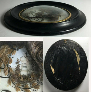 "Antique French Hair Art Memento, Mourning Icon w Tomb, in 8"" x 6.5"" Oval Frame"