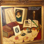 Vint Oil Painting on Canvas, Still Life Tromp L'oeil by Romek ARPAD (1883-1960)