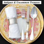 "Elegant Antique French Mother of Pearl & Silver 7.75"" 11pc Knife Set, Monograms"