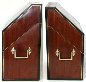 Antique Georgian - Victorian Cutlery Box, Chest, Walnut & Ebony with Brass Inlay