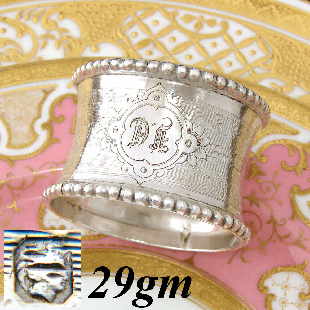 "Antique French Sterling Silver Napkin Ring, Convex, Guilloche Decoration, ""DF"""