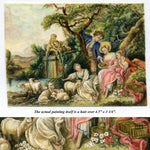 "Antique French Miniature Painting, ""The Shepherd's Gift"" by Francois Boucher"