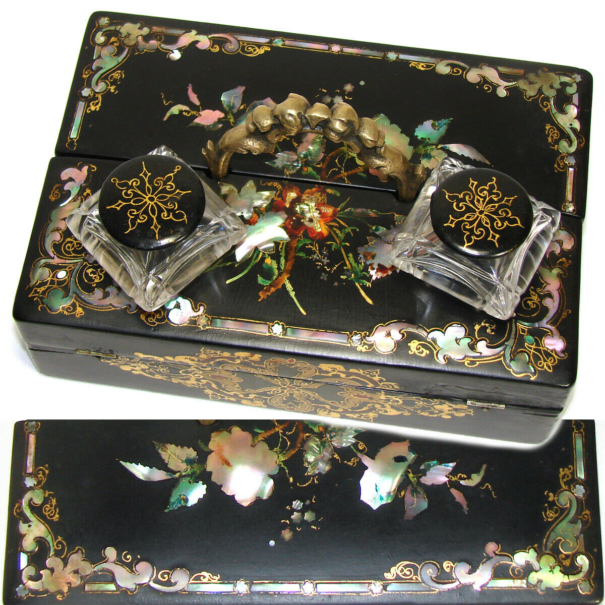 Antique Victorian Papier Mache Standish Styl Writer's Box, Inkwells, Pearl Inlay
