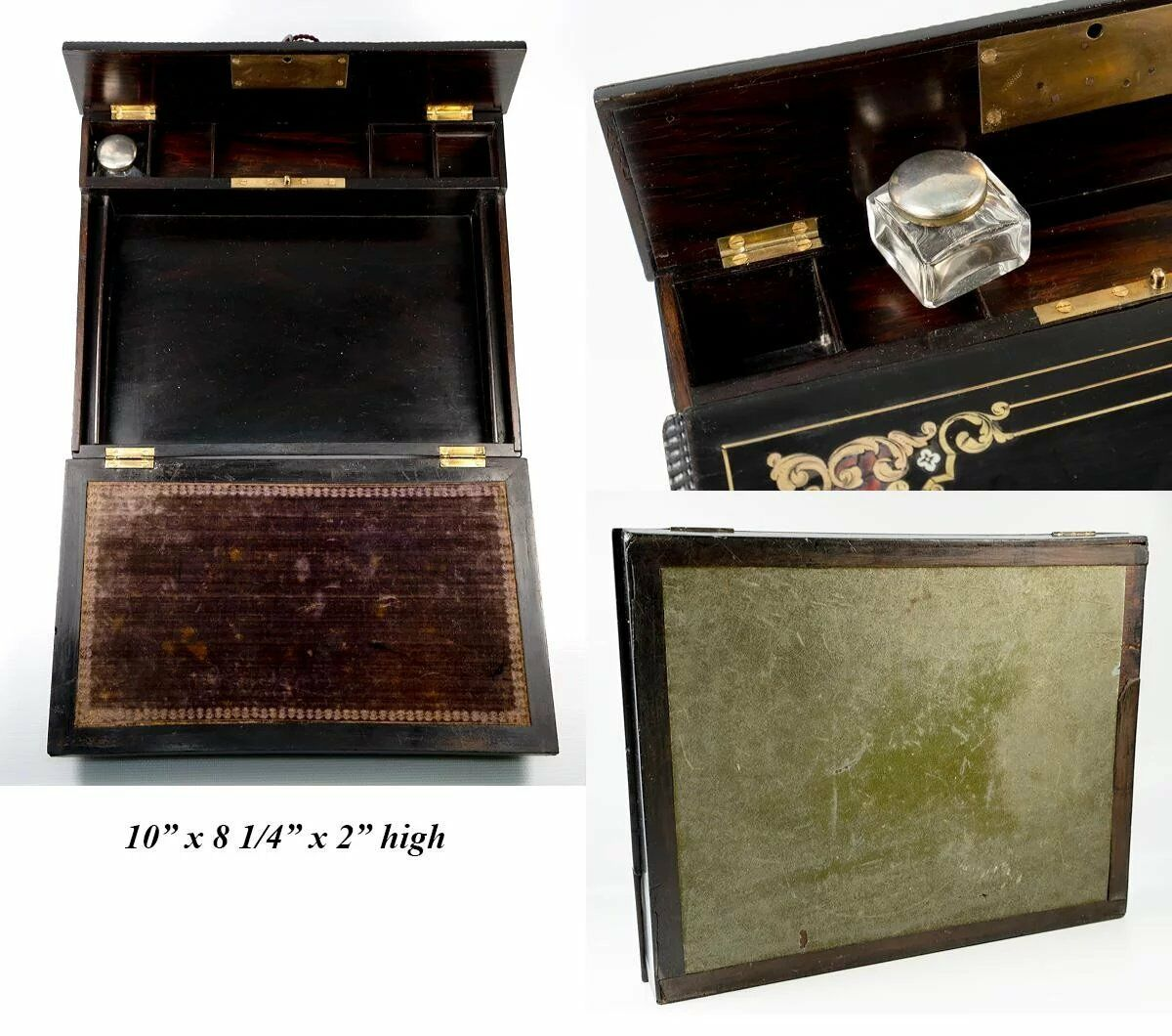 Antique French Writing Box, Chest, Charles X Era, c.1830, Boulle, Lock w Key