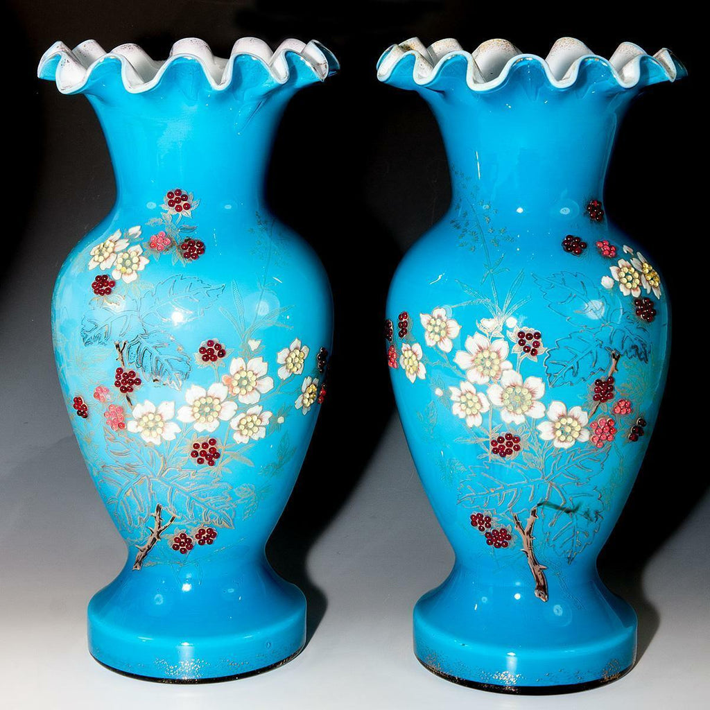 Rare HUGE 1800s Antique French Glass Vase PAIR (2), Bead Decorated Enamel