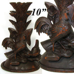 "Antique Black Forest Carved 10"" Tall Epergne or Candle Stand, Lamp Base? Rooster"