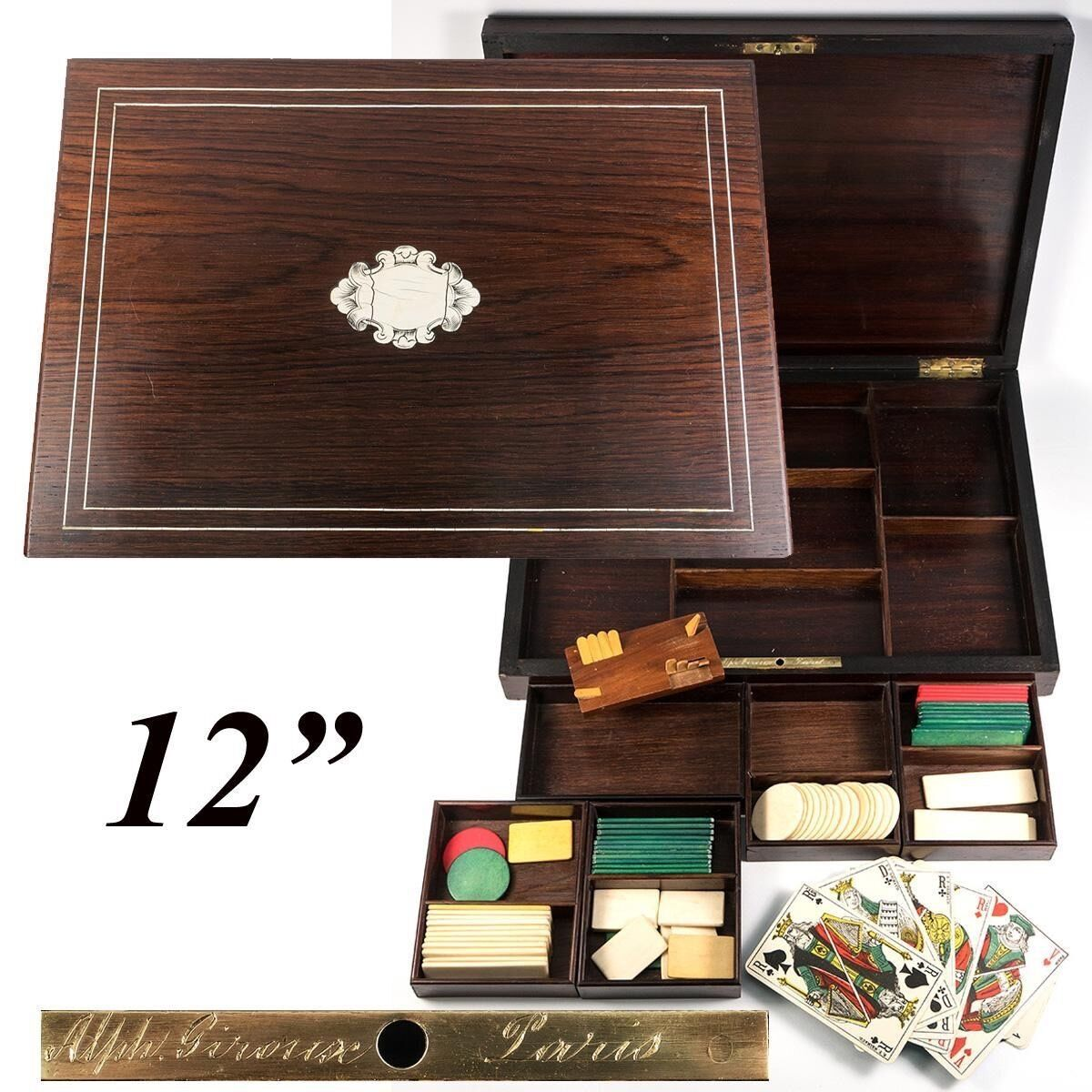 Antique Napoleon III Era French Game Chest, Box, Chips & Cards: Alph. GIROUX