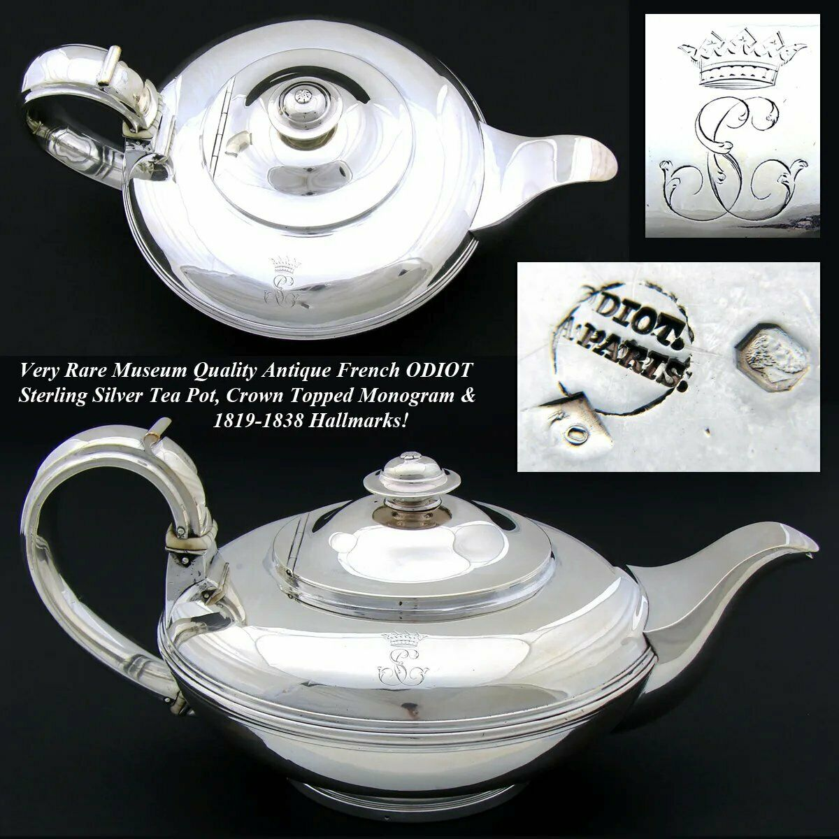 Antique French ODIOT Sterling Silver Tea Pot, Crown Topped Monogram, 1819-1838