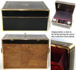 "Superb Antique French AUCOC Marked 14"" Travel Chest, Box, Sterling Topped Jars +"