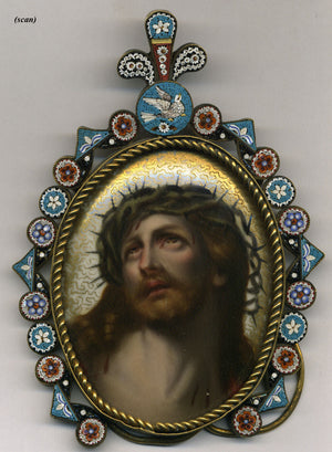 "Antique Italian 5.5"" Micro Mosaic Frame with Painting of Christ on Porcelain"