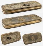 RARE Antique Cigar Case, Silk Embroidery Blackamoor, Leather Case Holds 6 Cigars