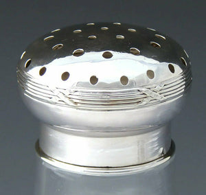 "Antique French Sterling Silver & Cut Glass 5.5"" Shaker, Caster, Powdered Sugar"