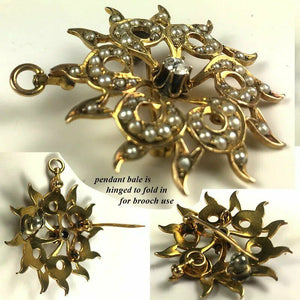 "Antique Edwardian 12k Gold Starburst Pendant, 1 2/8"" Brooch, Diamond, Seed Pearl"