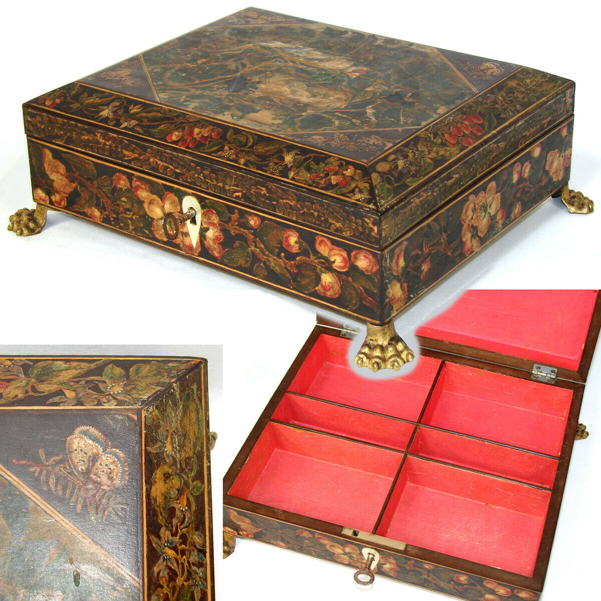 "Antique French Napoleon Era c.1820 10"" Playing Card, Sewing or Work Box, Painted"