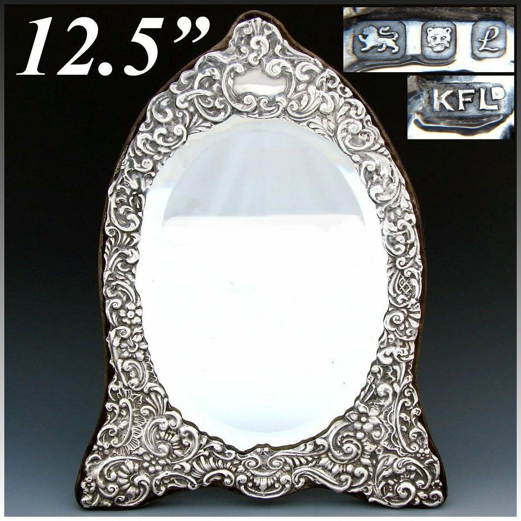 "Large Vintage English Hallmarked Sterling Silver 12.5"" Vanity, Boudoir Mirror"