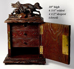 "Antique Black Forest Carved 10"" Chest, Cabinet, Box: Animalier Style FOX in Trap"