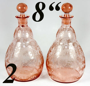 Antique Pair of Wheel Engraved Pink Glass Decanters, Carafe, Carafon - Bohemian