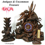 Charming Antique Black Forest Thermometer Stand, Owl & Rodent, Swiss Souvenir