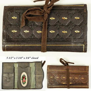 Antique Fine Leather & Embroidery Wallet, Cigar and Card Case, Purse, Minaudière