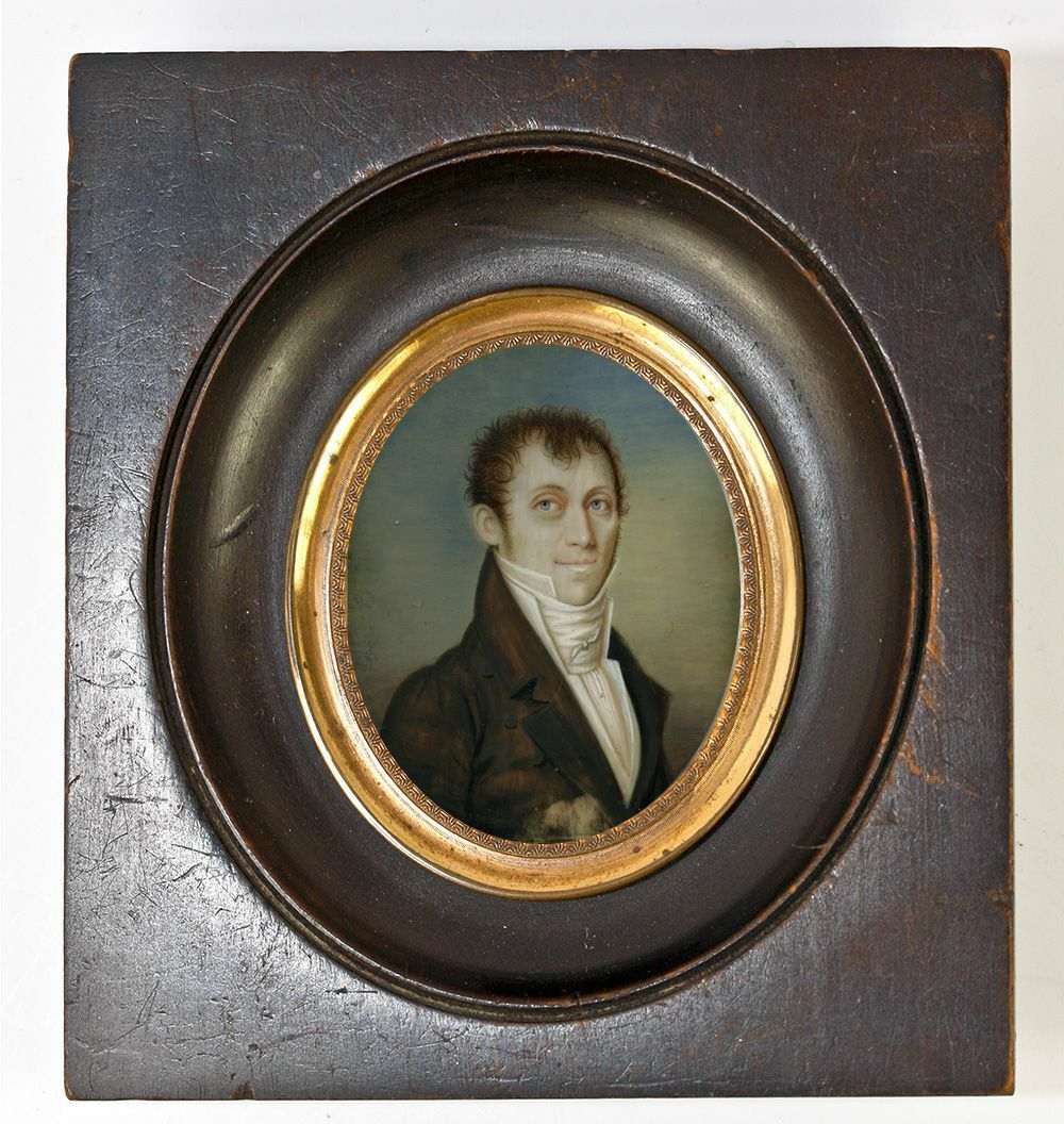 Antique French c. 1840s Georgian or Napoleon Era Portrait Miniature, Gentleman