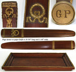 Rare Antique French 6pc Mahogany & Gilt Ormolu Writer's Desk Set, Empire Style