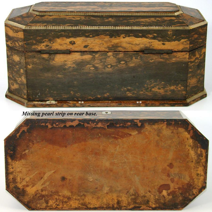 "Antique Victorian Era 13"" Coromandel & Mother of Pearl Tea Caddy, Jewelry Chest"