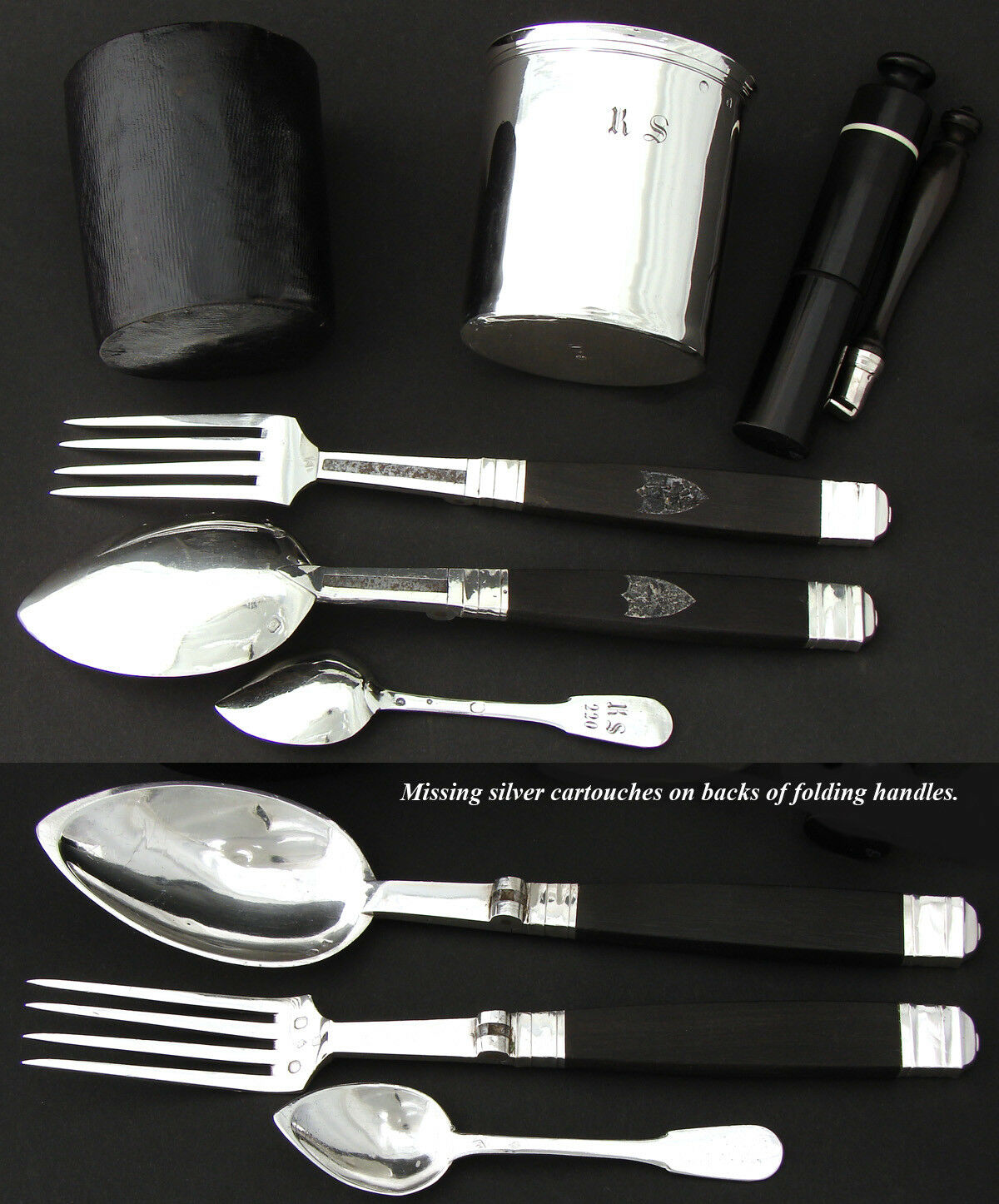 RARE Antique French Sterling Silver Officer's or Travel Set: Flatware, Pot, Cup