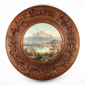 Antique Hand Carved Black Forest Bread Board, Platter, Oil Painting of Lucern
