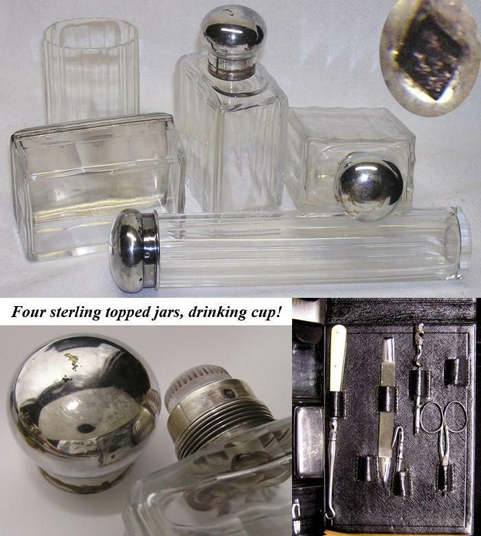 Antique French Palais Royal Style Travel Case, Sterling Silver Jars & More