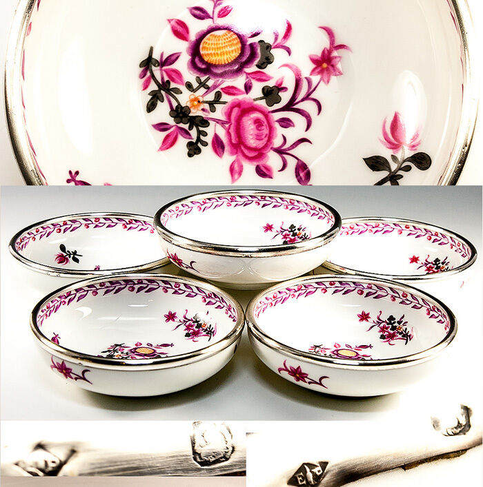 Antique PUIFORCAT French Sterling Silver Rim LIMOGES, 6pc Fruit or Dessert Bowls