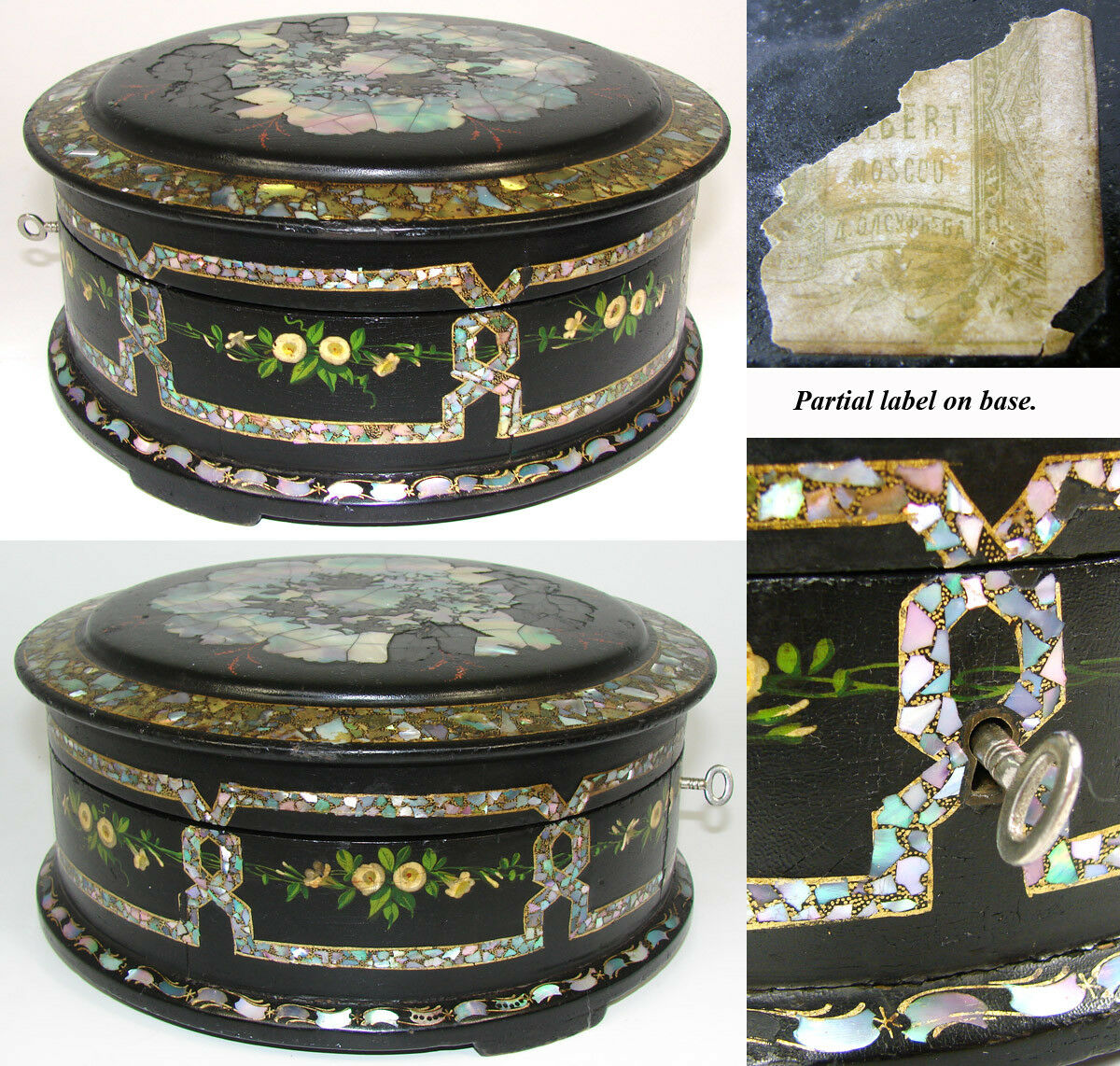"RARE Antique Russian Marked Papier Mache 8"" Round Box, Casket, Painted, MO Pearl"