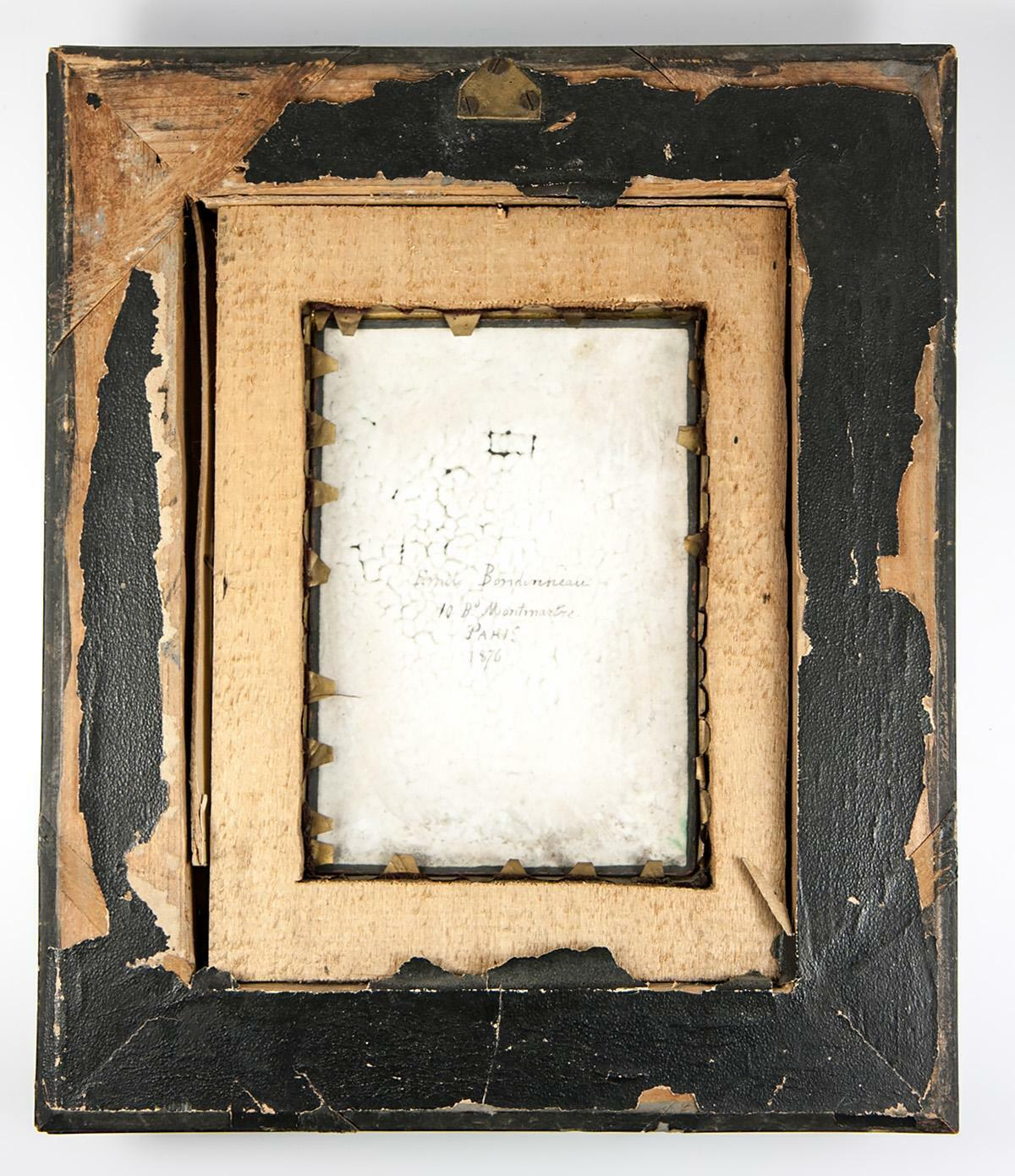 Antique French Photo Technique, Enamel on Convex Plaque, 1/2 Plate Daguerreotype