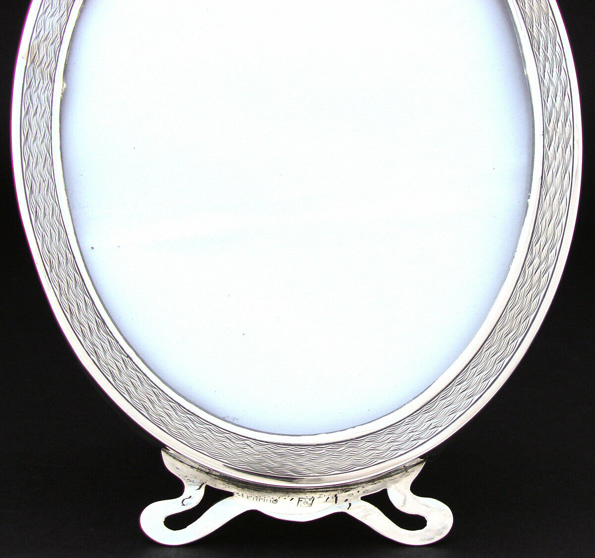 "Antique American Sterling Silver 6.75"" Picture Frame, Guilloche Style Engraving"