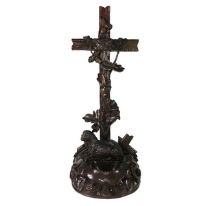 "Antique Hand Carved Black Forest 11.75"" Tall Crucifix, Holy Font with Lamb"