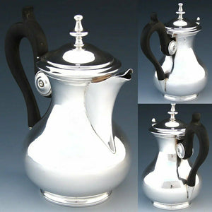 Antique French Sterling Silver Creamer or Solitaire Size Tea Pot, Carved Handle