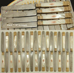 18pc Antique French Sterling Silver 18K - 22K Gold Vermeil & Pearl Knife Set