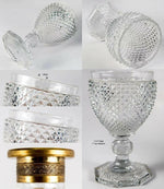 Superb Antique French Baccarat c.1830 Diamond Cut Decanter and Full Size Goblet