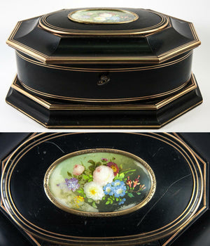 Superb Antique TAHAN, Paris Jewelry Box, Casket with Miniature Painting, c. 1840