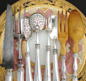 Antique French Sterling Silver 8pc Serving Implement Set, Orig Box, c. 1834-1846