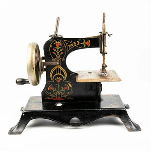 "Antique 7"" Tall Toy or Child's Working Sewing Machine, Hand Painted, c.1850s"