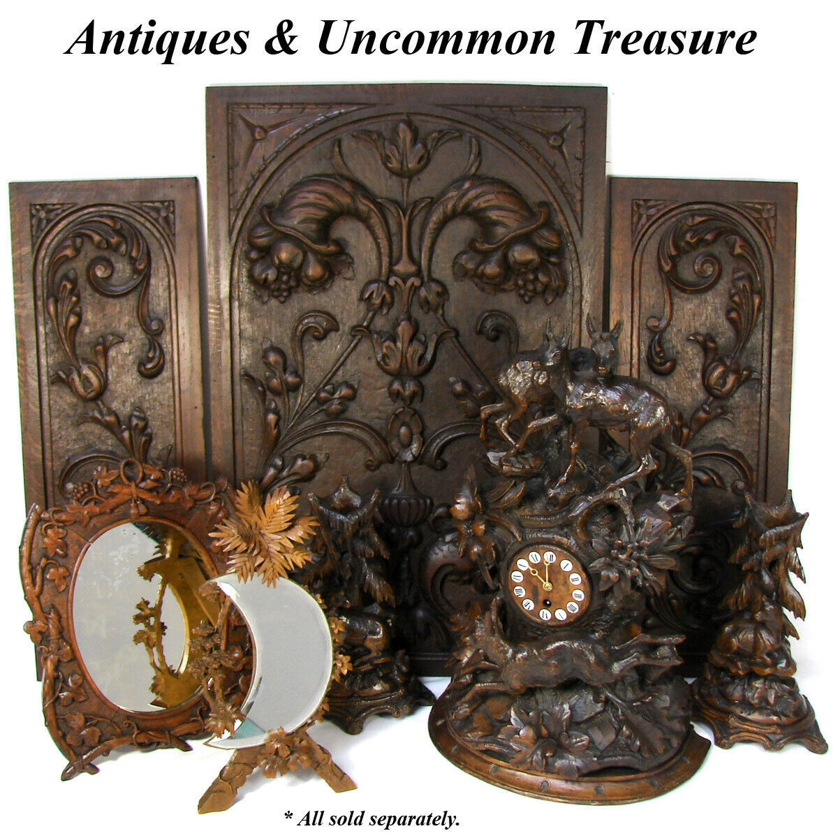 "Antique Black Forest Carved 12.5"" Stand, Foliate Accents, Crescent Shape Mirror"