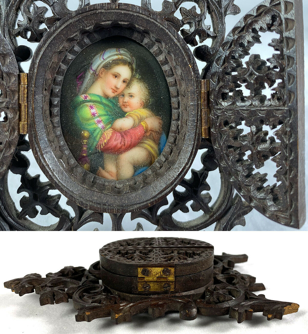 Antique Carved Wood Black Forest Locket Frame, Hand Painted Miniature Madonna