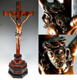 "RARE Antique French 1700s Hand Carved Christ on 28.5"" Altar Cross, 11"" Figure"