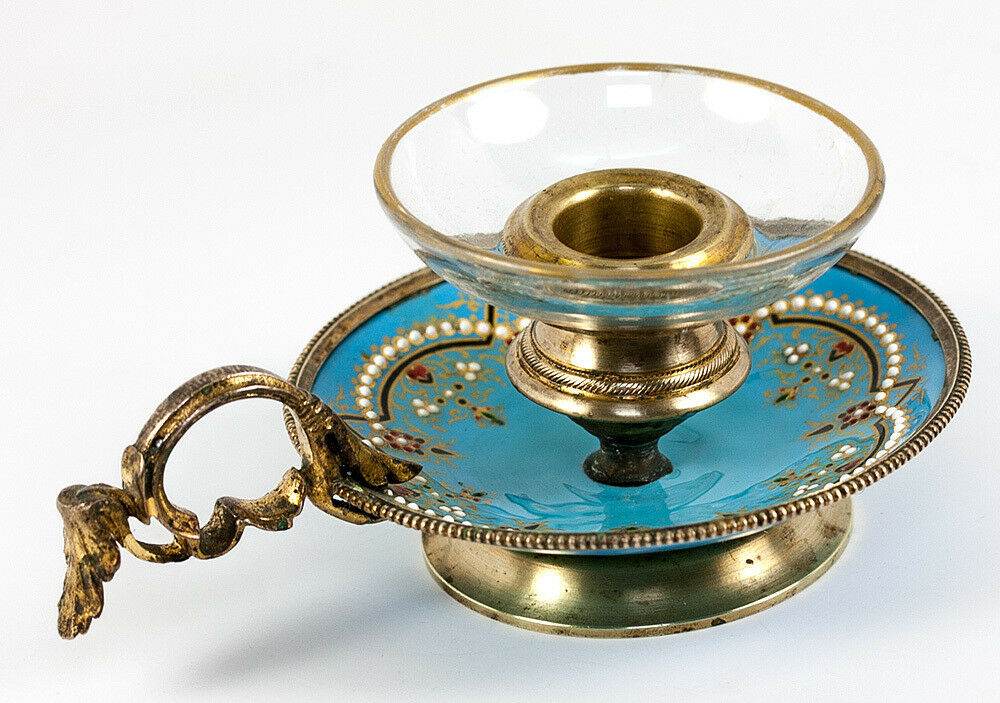 Antique French Kiln-Fired Enamel Chamber Candle Holder, Celeste Blue & Jeweled