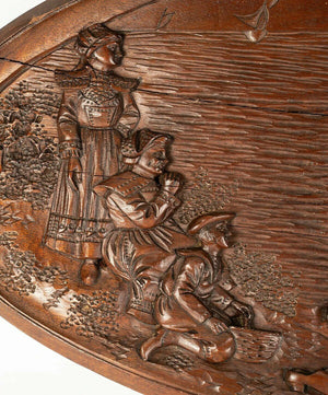 Vintage 1933 Marked Black Forest Style Carved Wood Tray, Figural Plaque