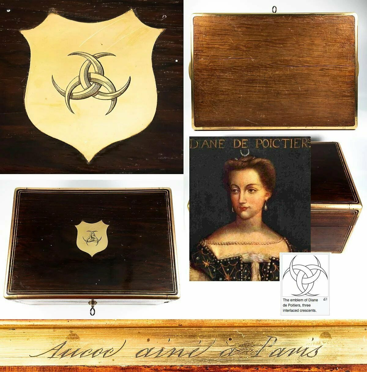 Aucoc Aine Paris Antique French Dressing Box, Casket, Crest of Diane de Poitiers