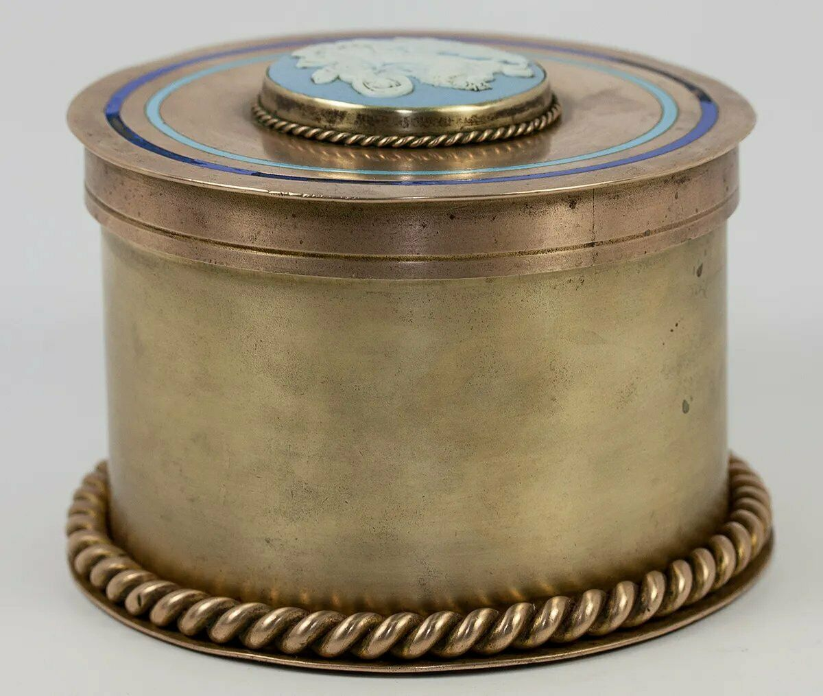 Antique Victorian Era Bronze Tea Caddy or Humidor, Enamel & Jasperware Plaque