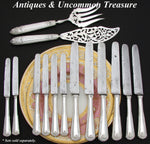 Elegant Antique French ODIOT Sterling Silver 12pc Table Knife Set, 2pc for SIX